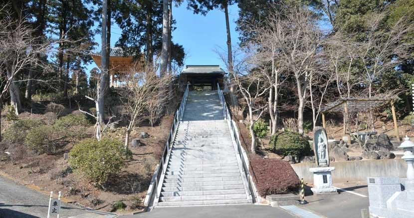 山門下階段から見上げる